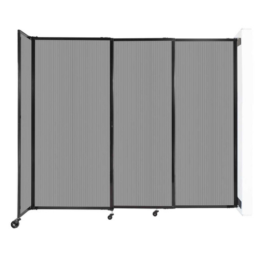 """StraightWall Wall-Mounted Sliding Partition 7'2"""" x 6' Light Gray Poly Polycarbonate"""