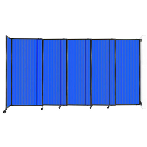 """StraightWall¨ Wall-Mounted Sliding Partition 11""""3' x 6' Blue Poly Polycarbonate"""
