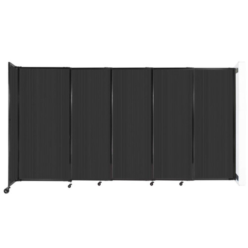 """StraightWall¨ Wall-Mounted Sliding Partition 11""""3' x 6' Dark Gray Poly Polycarbonate"""