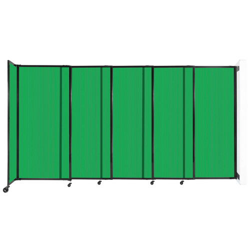 """StraightWall¨ Wall-Mounted Sliding Partition 11""""3' x 6' Green Poly Polycarbonate"""