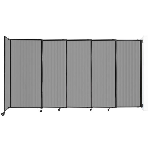 """StraightWall¨ Wall-Mounted Sliding Partition 11""""3' x 6' Light Gray Poly Polycarbonate"""
