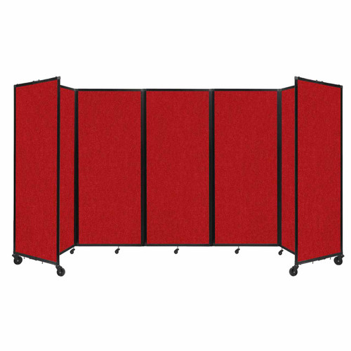 """Room Divider 360 Folding Portable Partition 14' x 6'10"""" Red Fabric"""