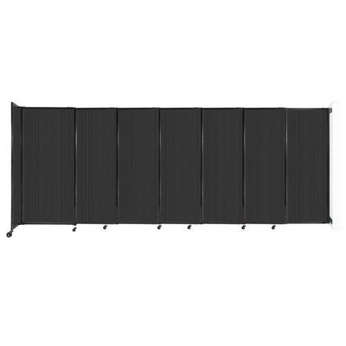 """StraightWall Wall-Mounted Sliding Partition 15'6"""" x 6' Dark Gray Poly Polycarbonate"""