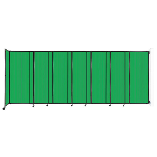 """StraightWall Wall-Mounted Sliding Partition 15'6"""" x 6' Green Poly Polycarbonate"""