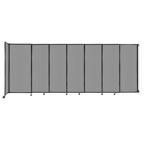 """StraightWall Wall-Mounted Sliding Partition 15'6"""" x 6' Light Gray Poly Polycarbonate"""