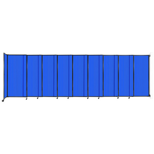 """StraightWall Wall-Mounted Sliding Partition 19'9"""" x 6' Blue Poly Polycarbonate"""