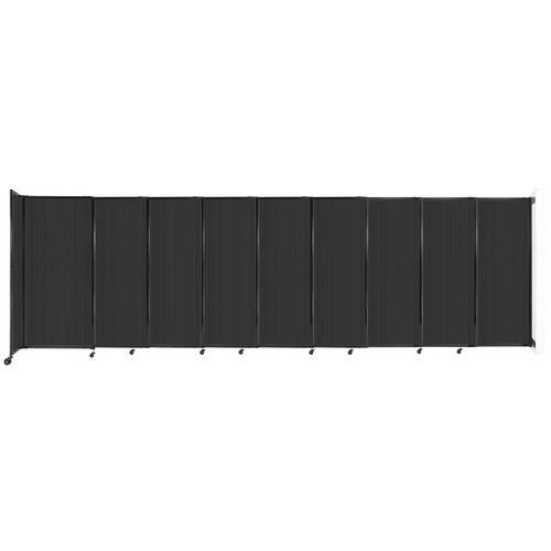 """StraightWall Wall-Mounted Sliding Partition 19'9"""" x 6' Dark Gray Poly Polycarbonate"""