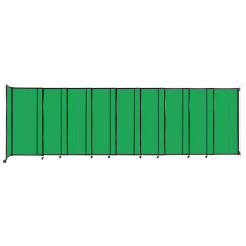 """StraightWall Wall-Mounted Sliding Partition 19'9"""" x 6' Green Poly Polycarbonate"""