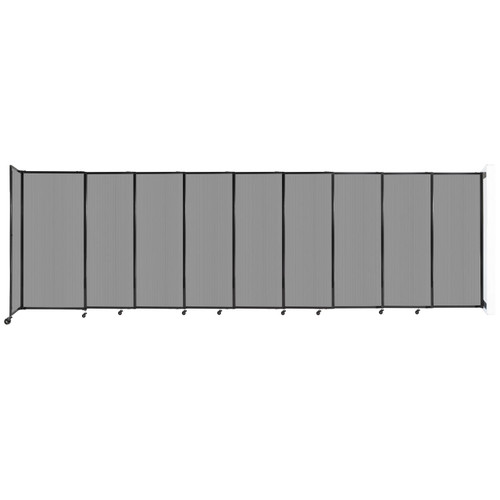 """StraightWall Wall-Mounted Sliding Partition 19'9"""" x 6' Light Gray Poly Polycarbonate"""