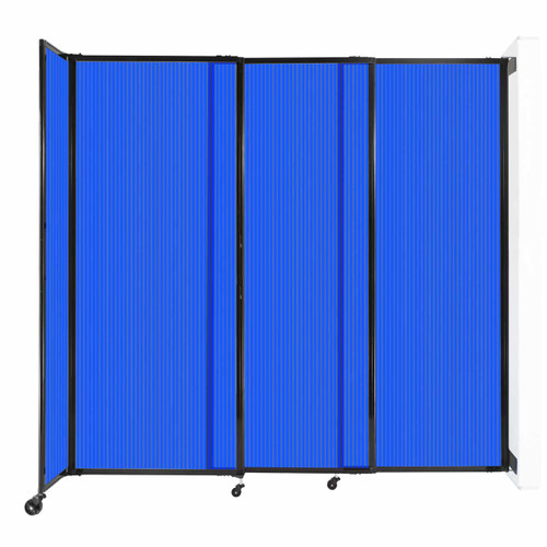 """StraightWall Wall-Mounted Sliding Partition 7'2"""" x 6'10"""" Blue Poly Polycarbonate"""