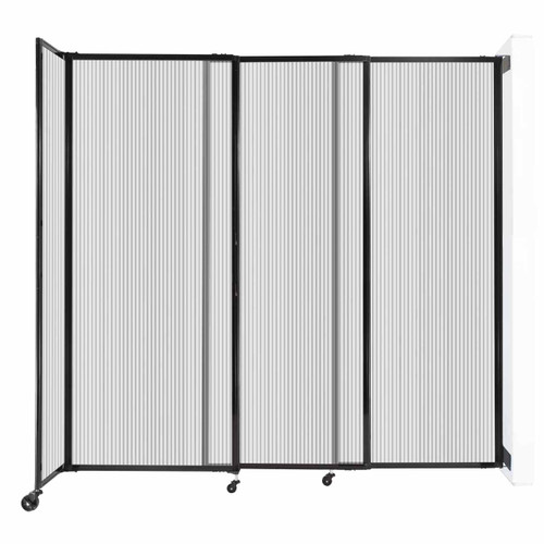 """StraightWall Wall-Mounted Sliding Partition 7'2"""" x 6'10"""" Clear Poly Polycarbonate"""