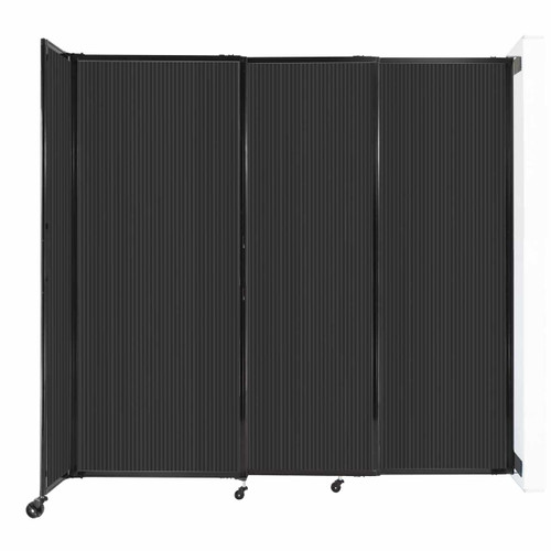 """StraightWall Wall-Mounted Sliding Partition 7'2"""" x 6'10"""" Dark Gray Poly Polycarbonate"""