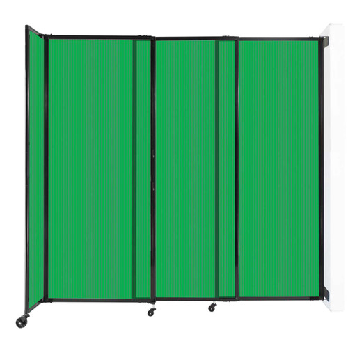 """StraightWall Wall-Mounted Sliding Partition 7'2"""" x 6'10"""" Green Poly Polycarbonate"""