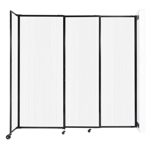 """StraightWall Wall-Mounted Sliding Partition 7'2"""" x 6'10"""" Opal Poly Polycarbonate"""