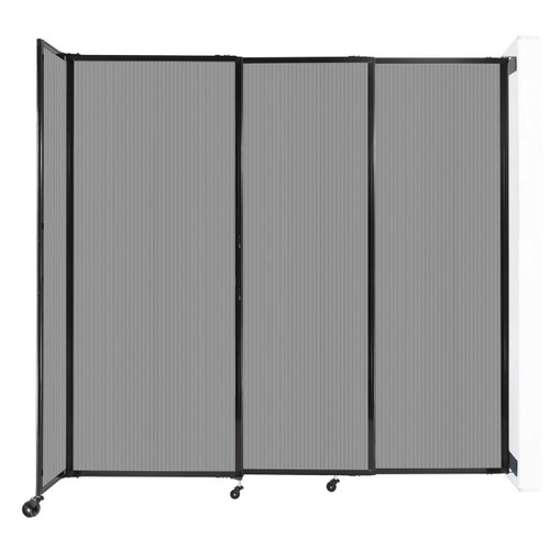 """StraightWall Wall-Mounted Sliding Partition 7'2"""" x 6'10"""" Light Gray Poly Polycarbonate"""