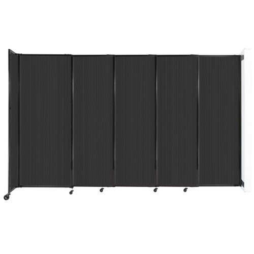 """StraightWall Wall-Mounted Sliding Partition 11'3"""" x 6'10"""" Dark Gray Poly Polycarbonate"""