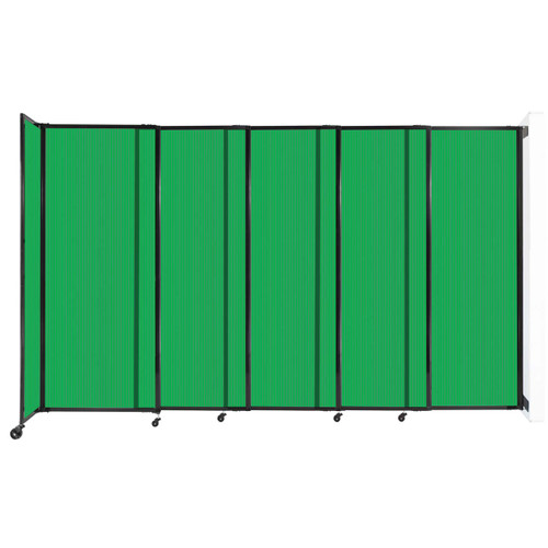 """StraightWall Wall-Mounted Sliding Partition 11'3"""" x 6'10"""" Green Poly Polycarbonate"""