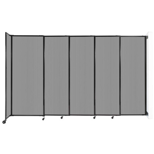 """StraightWall Wall-Mounted Sliding Partition 11'3"""" x 6'10"""" Light Gray Poly Polycarbonate"""