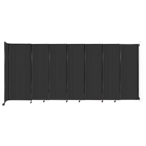 """StraightWall Wall-Mounted Sliding Partition 15'6"""" x 6'10"""" Dark Gray Poly Polycarbonate"""