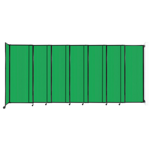 """StraightWall Wall-Mounted Sliding Partition 15'6"""" x 6'10"""" Green Poly Polycarbonate"""