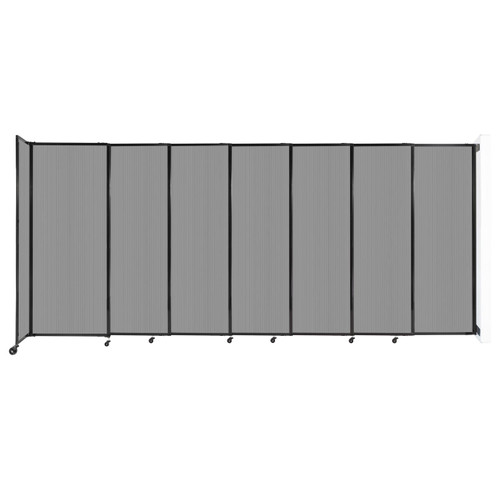 """StraightWall Wall-Mounted Sliding Partition 15'6"""" x 6'10"""" Light Gray Poly Polycarbonate"""