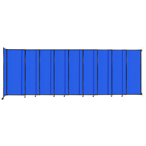 """StraightWall Wall-Mounted Sliding Partition 19'9"""" x 6'10"""" Blue Poly Polycarbonate"""