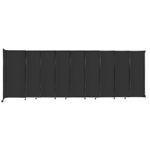 """StraightWall Wall-Mounted Sliding Partition 19'9"""" x 6'10"""" Dark Gray Poly Polycarbonate"""