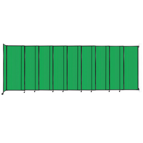 """StraightWall Wall-Mounted Sliding Partition 19'9"""" x 6'10"""" Green Poly Polycarbonate"""