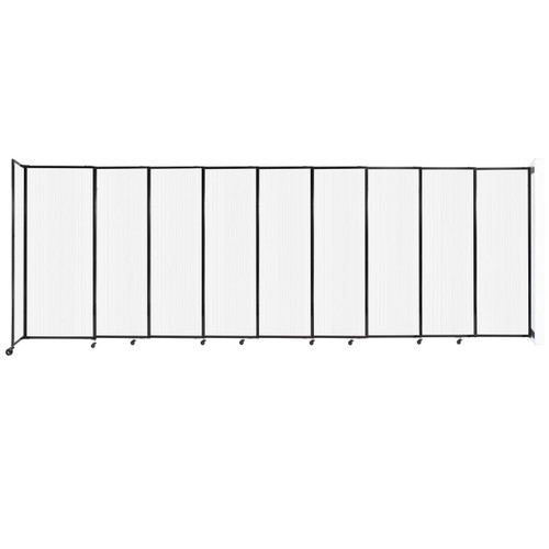 """StraightWall Wall-Mounted Sliding Partition 19'9"""" x 6'10"""" Opal Poly Polycarbonate"""