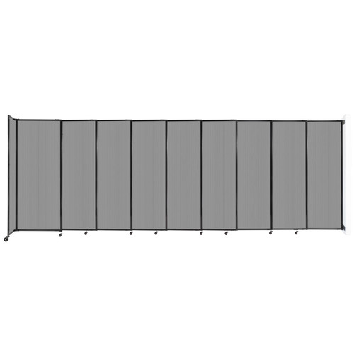 """StraightWall Wall-Mounted Sliding Partition 19'9"""" x 6'10"""" Light Gray Poly Polycarbonate"""