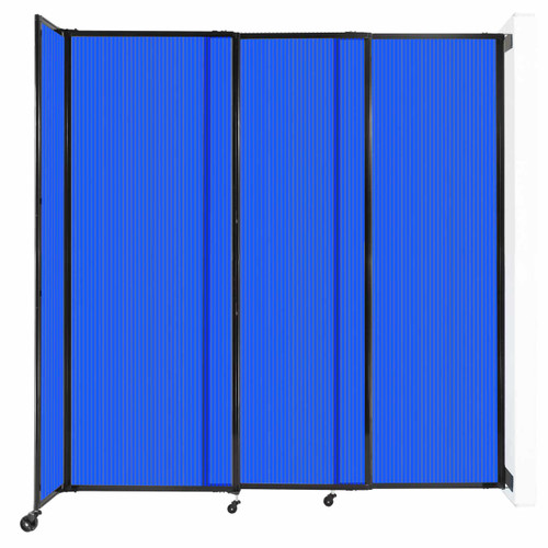 """StraightWall Wall-Mounted Sliding Partition 7'2"""" x 7'6"""" Blue Poly Polycarbonate"""