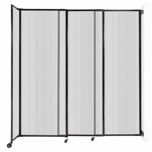 """StraightWall Wall-Mounted Sliding Partition 7'2"""" x 7'6"""" Clear Poly Polycarbonate"""