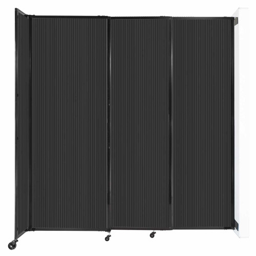 """StraightWall Wall-Mounted Sliding Partition 7'2"""" x 7'6"""" Dark Gray Poly Polycarbonate"""
