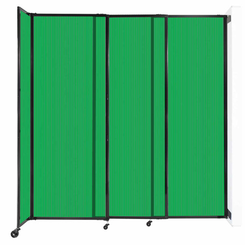 """StraightWall Wall-Mounted Sliding Partition 7'2"""" x 7'6"""" Green Poly Polycarbonate"""