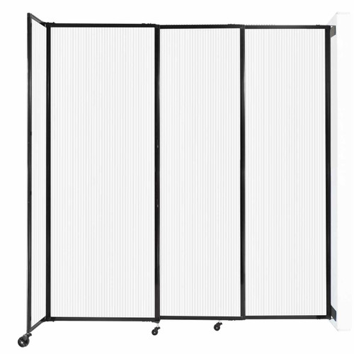"""StraightWall Wall-Mounted Sliding Partition 7'2"""" x 7'6"""" Opal Poly Polycarbonate"""