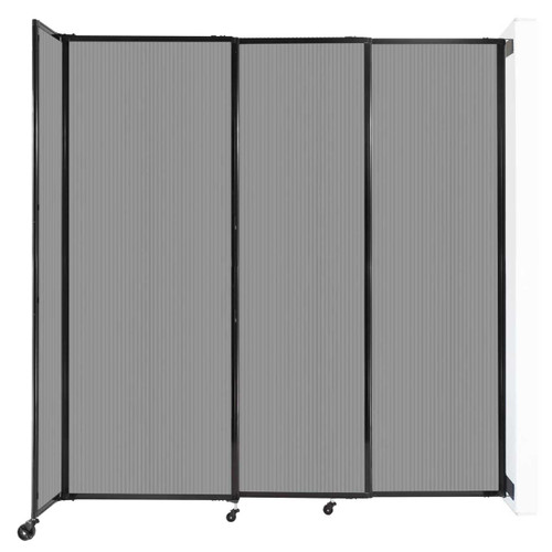"""StraightWall Wall-Mounted Sliding Partition 7'2"""" x 7'6"""" Light Gray Poly Polycarbonate"""