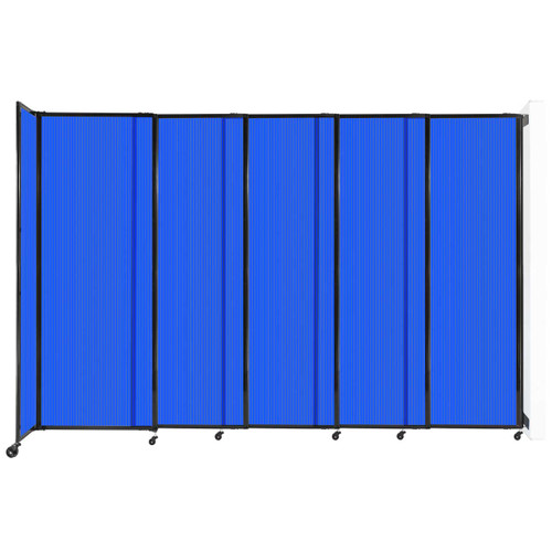"""StraightWall Wall-Mounted Sliding Partition 11'3"""" x 7'6"""" Blue Poly Polycarbonate"""