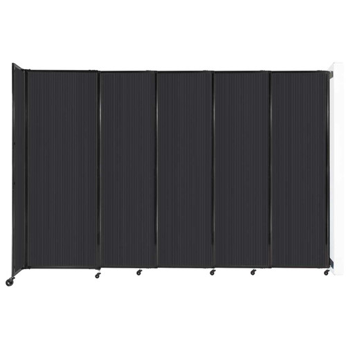 """StraightWall Wall-Mounted Sliding Partition 11'3"""" x 7'6"""" Dark Gray Poly Polycarbonate"""