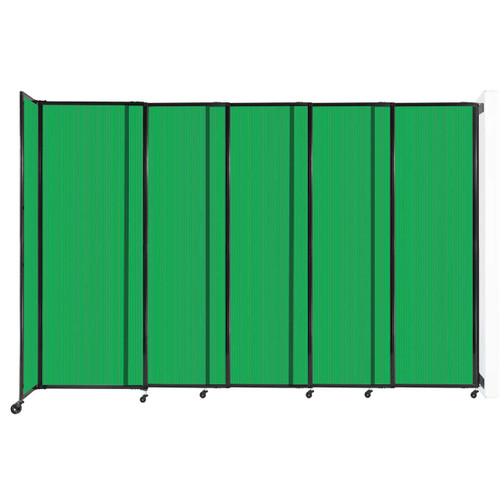 """StraightWall Wall-Mounted Sliding Partition 11'3"""" x 7'6"""" Green Poly Polycarbonate"""