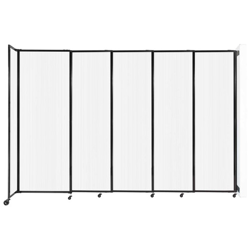 """StraightWall Wall-Mounted Sliding Partition 11'3"""" x 7'6"""" Opal Poly Polycarbonate"""