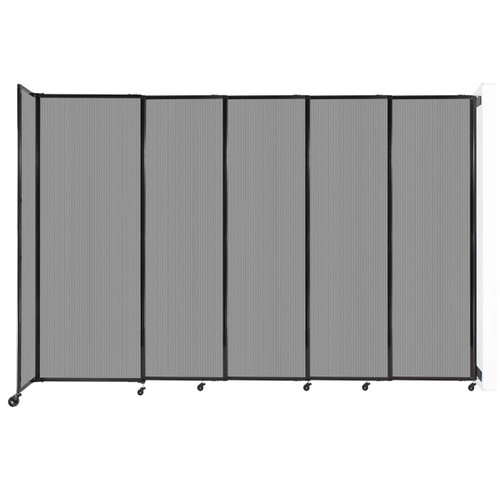 """StraightWall Wall-Mounted Sliding Partition 11'3"""" x 7'6"""" Light Gray Poly Polycarbonate"""