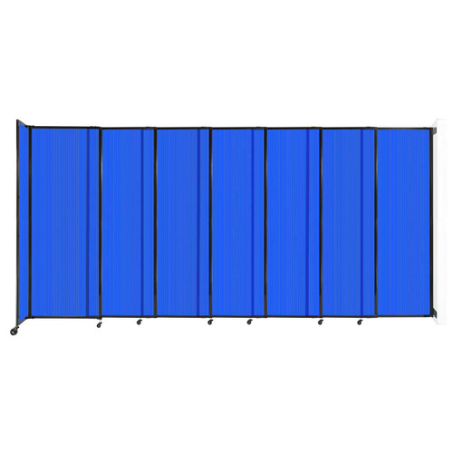 """StraightWall Wall-Mounted Sliding Partition 15'6"""" x 7'6"""" Blue Poly Polycarbonate"""