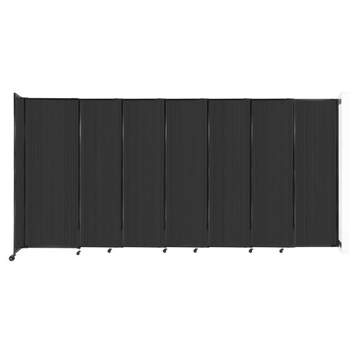 """StraightWall Wall-Mounted Sliding Partition 15'6"""" x 7'6"""" Dark Gray Poly Polycarbonate"""
