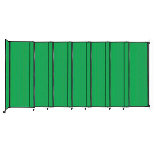 """StraightWall Wall-Mounted Sliding Partition 15'6"""" x 7'6"""" Green Poly Polycarbonate"""