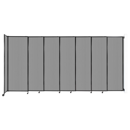 """StraightWall Wall-Mounted Sliding Partition 15'6"""" x 7'6"""" Light Gray Poly Polycarbonate"""