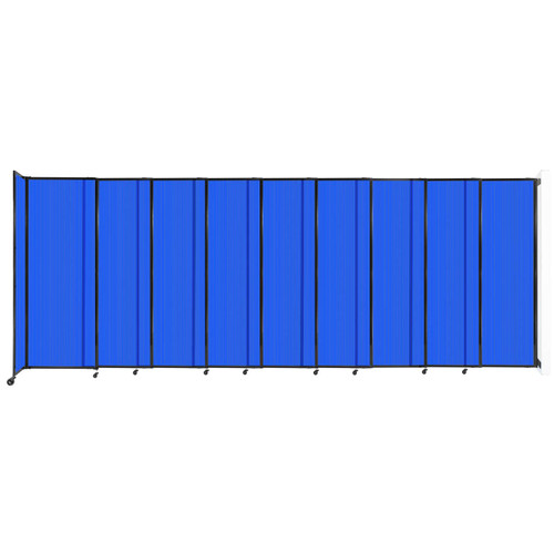 """StraightWall Wall-Mounted Sliding Partition 19'9"""" x 7'6"""" Blue Poly Polycarbonate"""