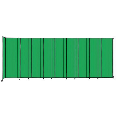 """StraightWall Wall-Mounted Sliding Partition 19'9"""" x 7'6"""" Green Poly Polycarbonate"""