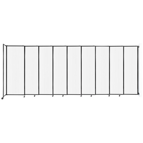 """StraightWall Wall-Mounted Sliding Partition 19'9"""" x 7'6"""" Opal Poly Polycarbonate"""