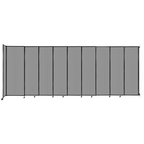 """StraightWall Wall-Mounted Sliding Partition 19'9"""" x 7'6"""" Light Gray Poly Polycarbonate"""