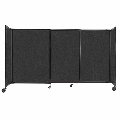 """StraightWall Sliding Portable Partition 7'2"""" x 4' Black Fabric"""
